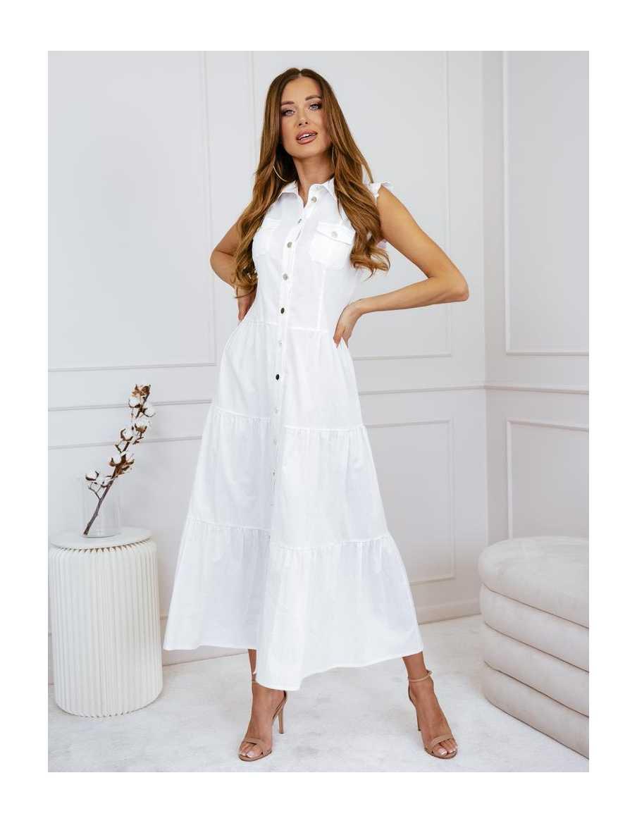Sukienka biała zapinana na guziki