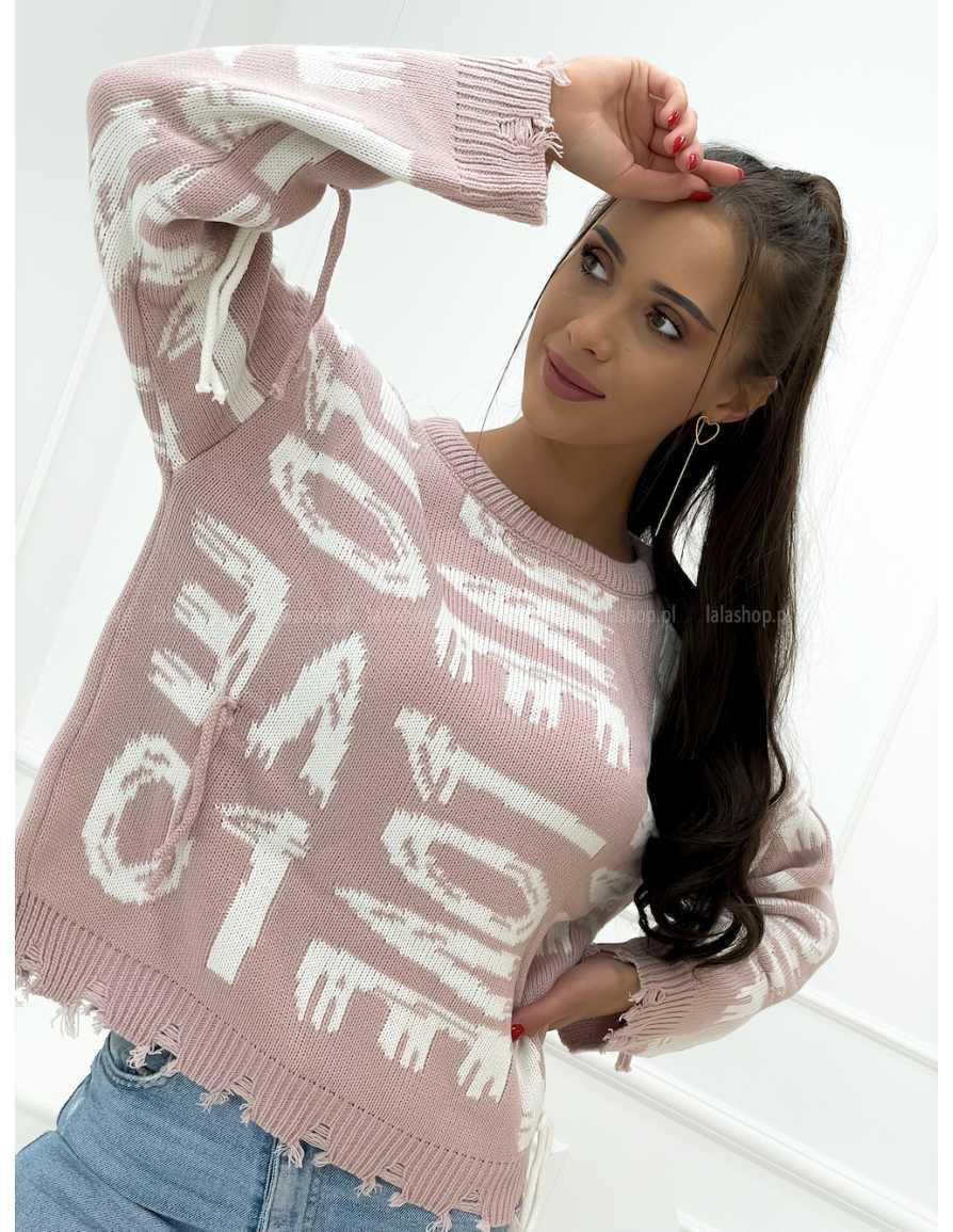 Sweter VELSATINO LOVE różowy