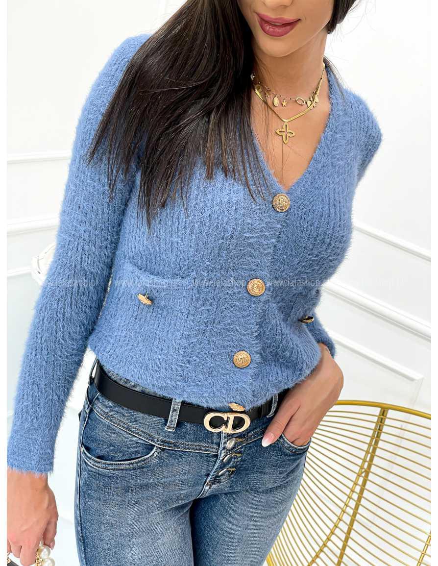 Sweter ALPAKA jeans błękitny