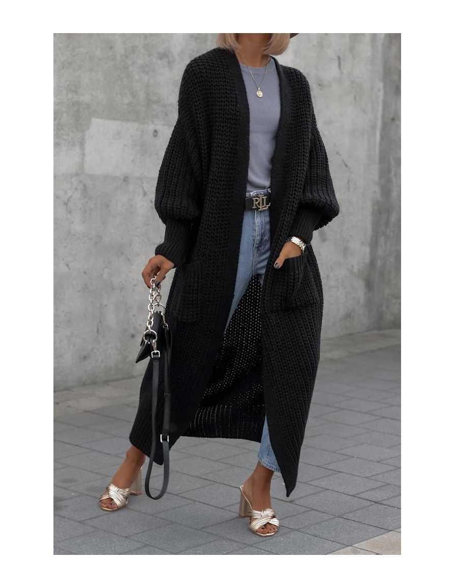 Sweter kardigan LONG czarny