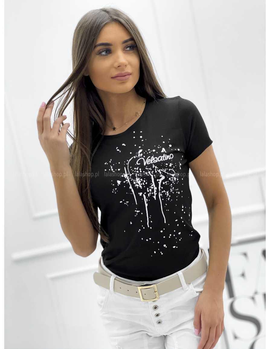 Bluzka T-Shirt VELSATINO Czarna