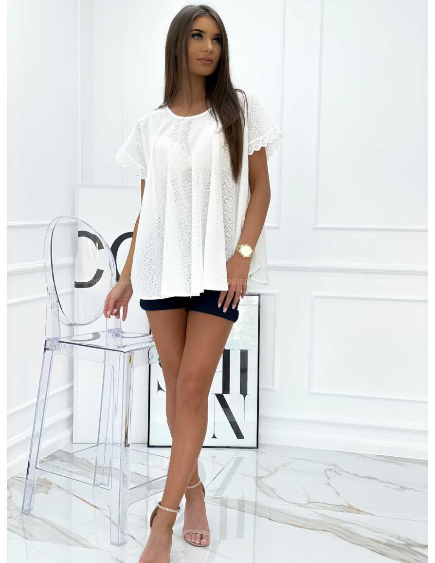Bluzka ażurowa CAROLINE biała